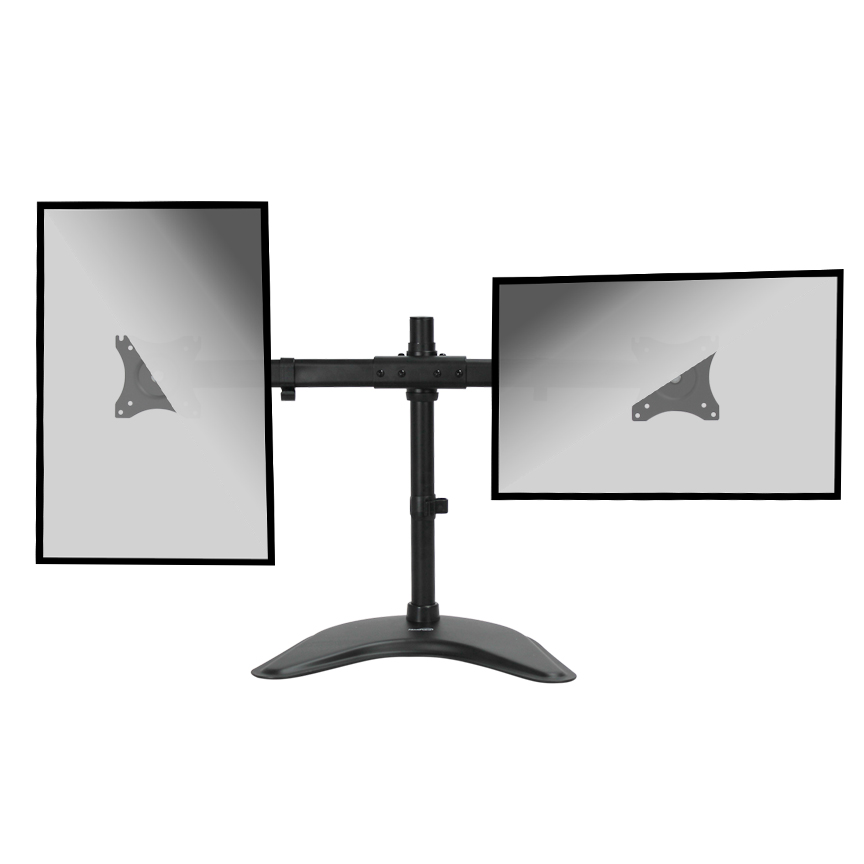 Dual Lcd 2 Monitor Stand Desk Mount Adjustable Curved Free