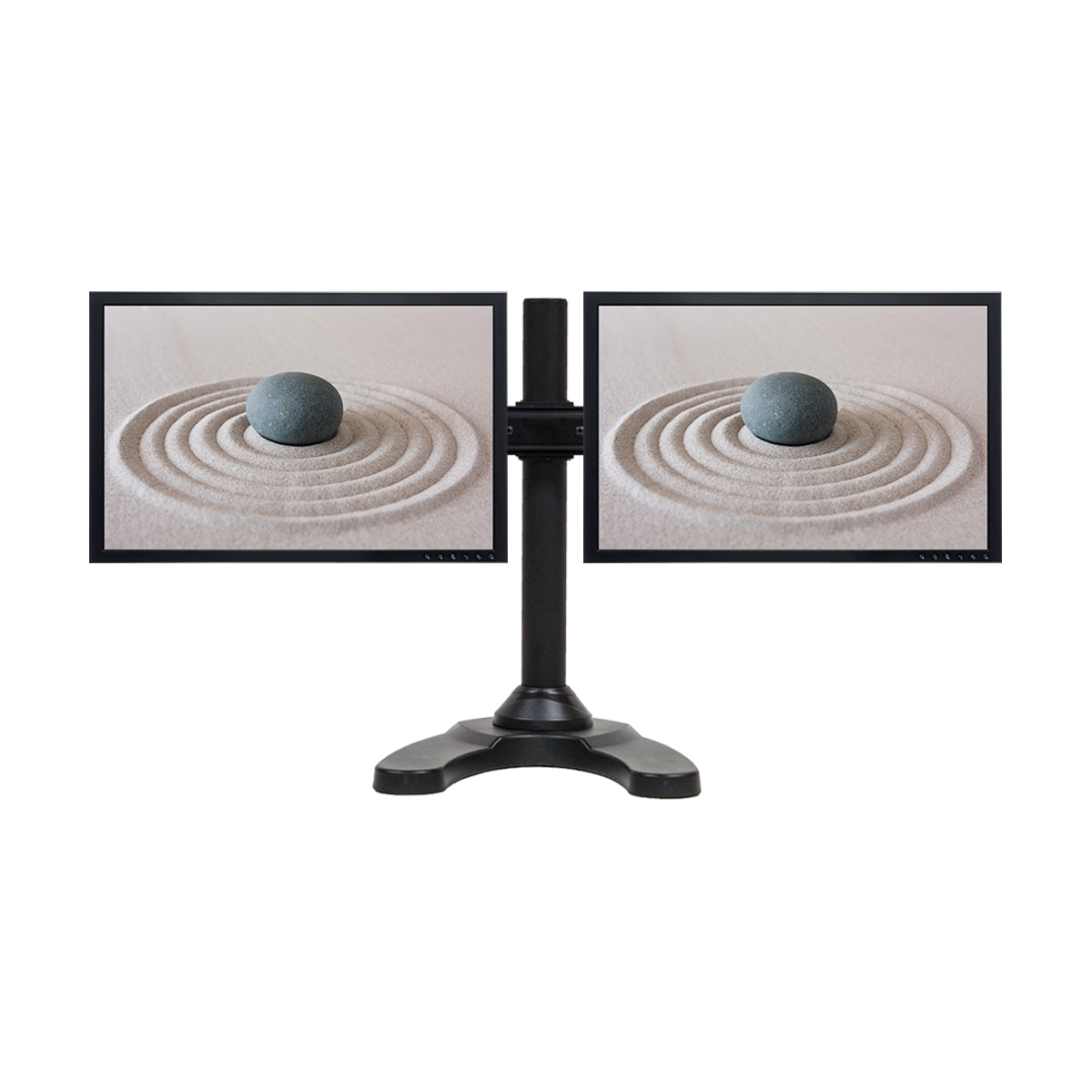 dual lcd 2 monitor stand desk mount adjustable curved free standing up to 28 ebay. Black Bedroom Furniture Sets. Home Design Ideas